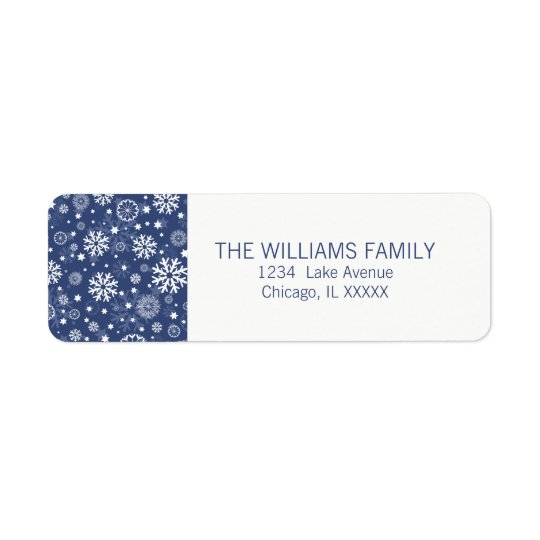 Modern Blue Snowflake Holiday Return Address Label