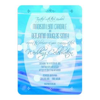 Modern Blue Sparkle Wedding Celebration Invitation