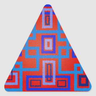 Modern blue squares on red background triangle sticker