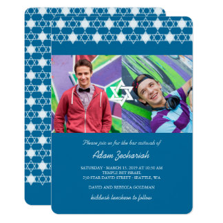 Modern Blue Stars Of David Bar Mitzvah Photo Card