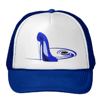 Modern Blue Stiletto Shoe Art Cap