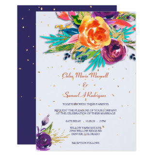 Modern Blue Tangerine Floral Wedding Invitation
