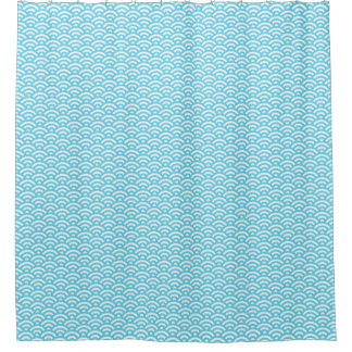 Modern Blue/Teal/White Waves Shower Curtain