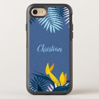 Modern Blue Tropical Paradise Monogram OtterBox Symmetry iPhone 8/7 Case