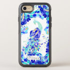 Modern blue turquoise gold peacock pattern OtterBox symmetry iPhone 8/7 case