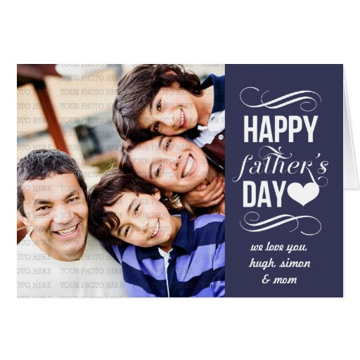 Modern Blue Vintage Banner Father's Day Photo Greeting Card