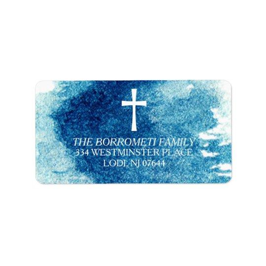 Modern Blue Watercolor Cross Return Address Label