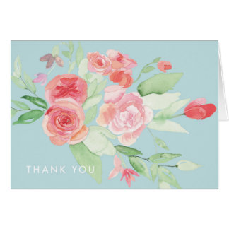 Modern Blue Watercolor Floral Thank You Note Card