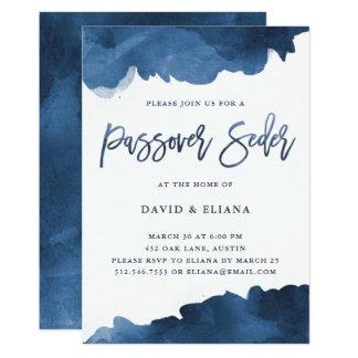 Modern Blue Watercolor   Passover Seder Invitation