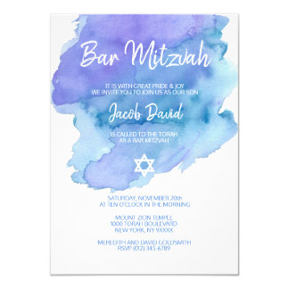 Modern Blue Watercolor Star of David BAR MITZVAH Card
