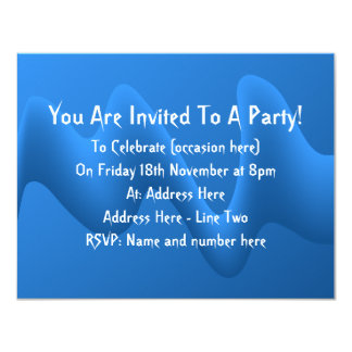 "Modern Blue Wave Abstract Design. 4.25"" X 5.5"" Invitation Card"