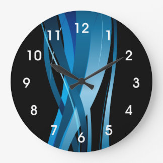 Modern Blue Wave Abstract Large Clock