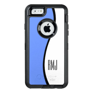 Modern Blue Wave Personalized Monogram OtterBox Defender iPhone Case