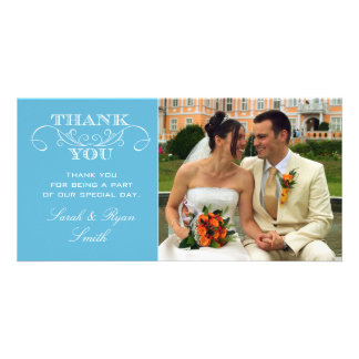 Modern Blue Wedding Photo Thank You Cards Personalised Photo Card
