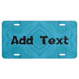 Modern blue wood pattern license plate