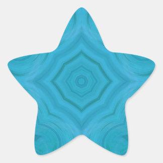 Modern blue wood pattern star sticker