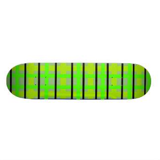 Modern blue yellow and green plaid 20.6 cm skateboard deck