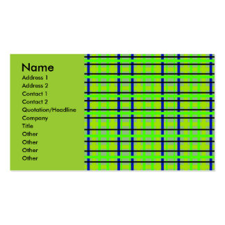Modern blue yellow and green plaid business card templates