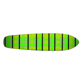 Modern blue yellow and green plaid skate boards