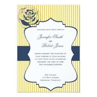 "Modern Blue Yellow Stripe Wedding Invitation 5"" X 7"" Invitation Card"