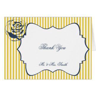 Modern Blue Yellow Stripe Wedding Thank You Greeting Cards