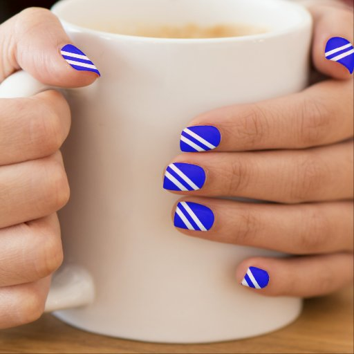 Modern Bluebonnet Diagonal Stripes Minx ® Nail Art