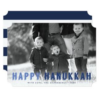 Modern Blues Hanukkah Photo 13 Cm X 18 Cm Invitation Card