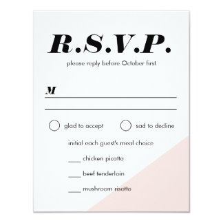 Modern Blush Color Block Wedding Reply Card