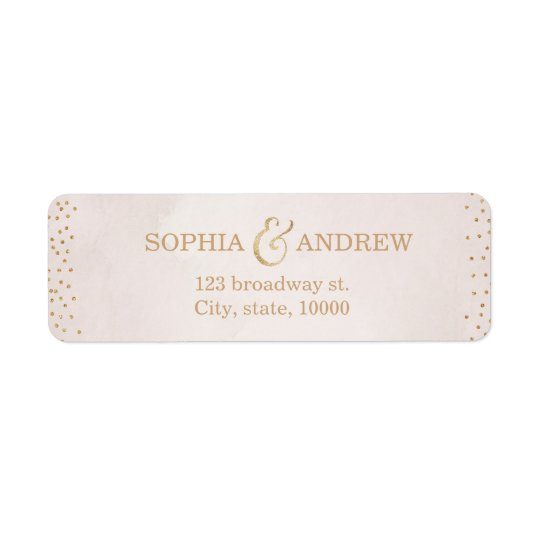 Modern blush faux glitter rose gold return address return address label