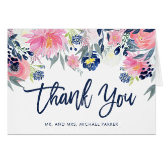 Modern Blush Pink and Navy Floral Thank You Card