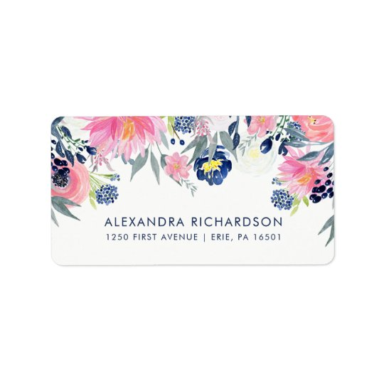 Modern Blush Pink and Navy Floral Wedding Label