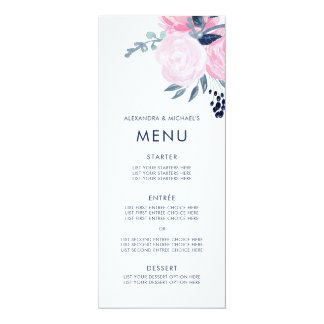 Modern Blush Pink and Navy Floral Wedding Menu Card