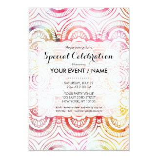 Modern blush pink coral watercolor floral mandala card