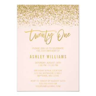 Modern Blush Pink Faux Gold Glitter 21st Birthday Card