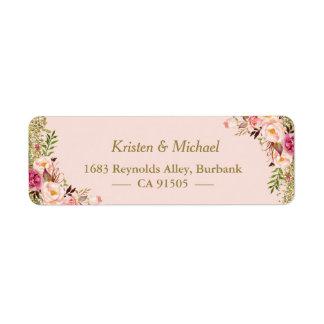 Modern Blush Pink Gold Glitter Floral Return Address Label