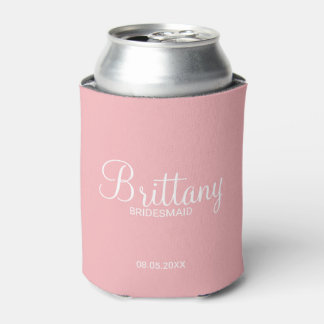 Modern Blush Pink Personalized Bridesmaids Can Cooler