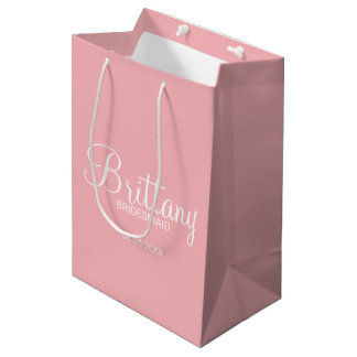 Modern Blush Pink Personalized Bridesmaids Medium Gift Bag