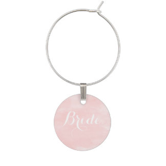 Modern blush pink watercolor bride wine glass charms