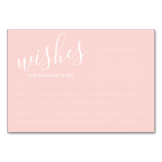 Modern Blush Pink Wedding Advice&Wishes Cards