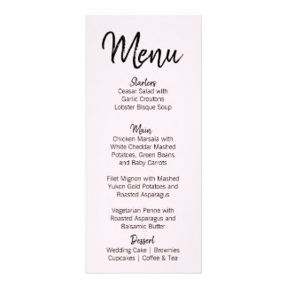 Modern Blush Pink Wedding Menu Card | Black