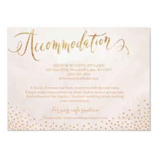 Modern blush rose gold calligraphy accommodation card