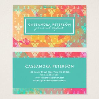 Modern Bohemian Chic Geometric Watercolor Business Card