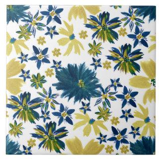 Modern bohemian hand paint floral ceramic tile