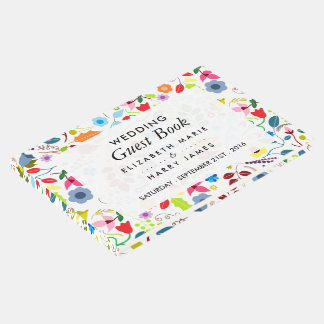 Modern Boho Chic Floral Wedding Guest Book
