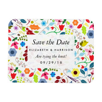 Modern Boho Chic Floral Wedding Save The Date Rectangular Photo Magnet