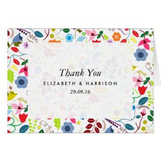 Modern Boho Chic Floral Wedding Thank You Card