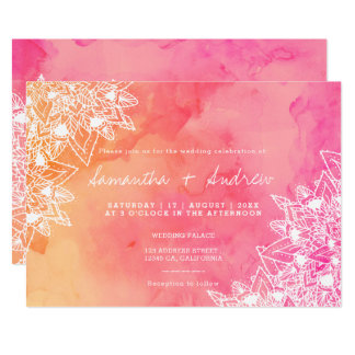 Modern boho floral lace pink watercolor wedding card
