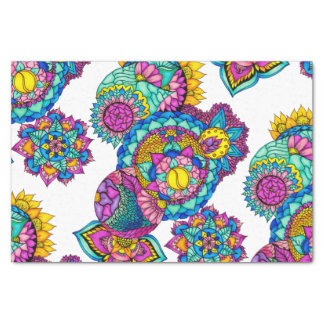 Modern boho floral watercolor mandala hand drawn tissue paper