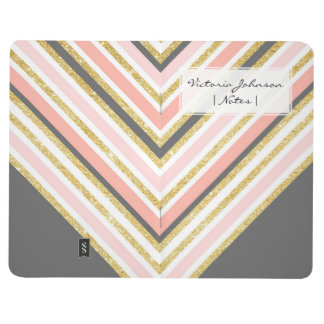 Modern boho gray pink coral gold glitter chevron journal