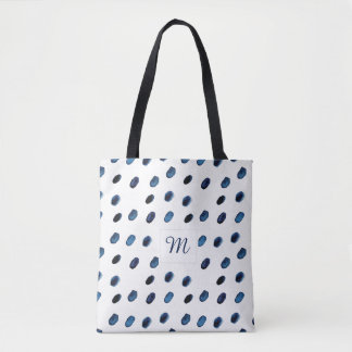 Modern Boho Indigo Watercolor Dots On | Tote Bag